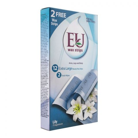 EU Lily Fragrance Wax Strips, Arms, Legs And Body, For All Skin Types, 10+2 Pack