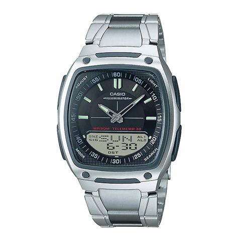 Casio Analog-Digital Black Dial Telememo Illuminator Watch, Stainless Steel Band, AW-81D-1AVDF