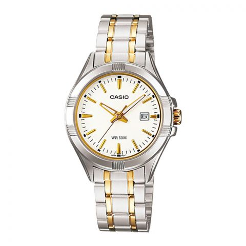 Casio Enticer Women's Analog Silver/Gold Stainless Steel Watch, LTP-1308SG-7AVDF