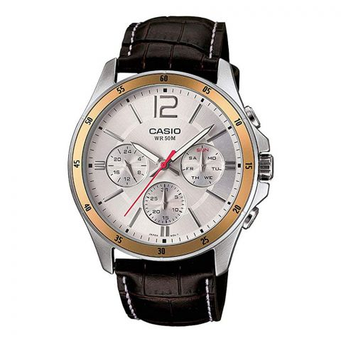 Casio Enticer Chronograph White Dial Men's Watch, Leather Strap, MTP-1374L-7AVDF