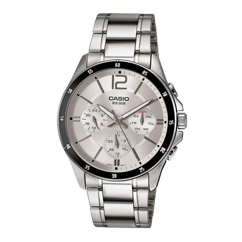 Casio Enticer Chronograph Men's Metal Band Silver Dial Watch, MTP-1374D-7AVDF