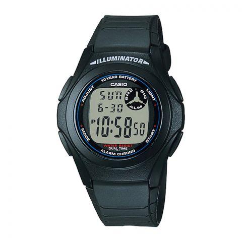 Casio Youth Illuminator Black/Blue Dual-Time Digital Alarm Men's Watch, F-200W-1ADF