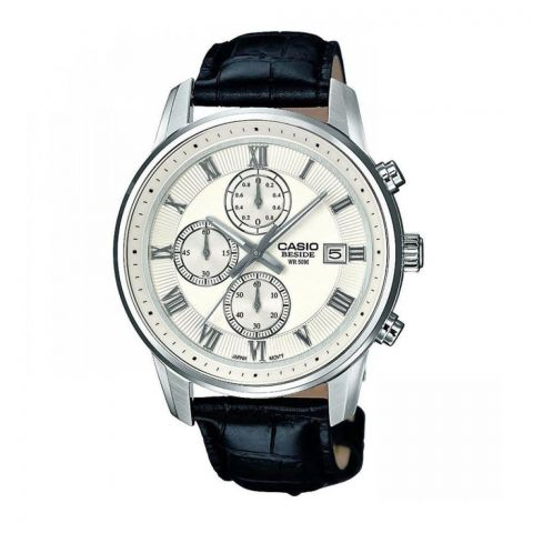 Casio Beside Men's Chronograph White Dial Leather Strap Watch, BEM-511L-7AVDF