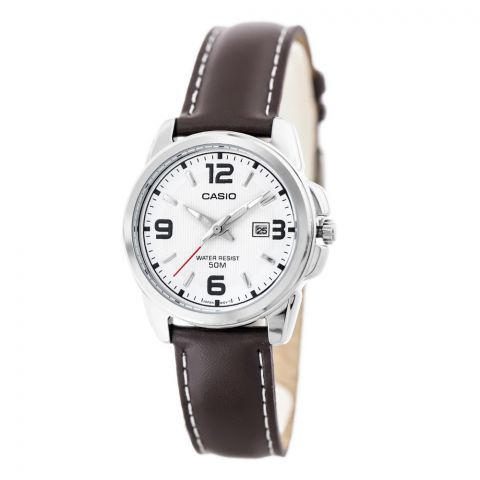 Casio Enticer Women's White Dial Leather Band Watch, LTP-1314L-7AVDF