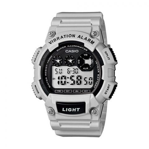 Casio Youth Series Light Grey Vibration Illuminator Digital Men's Watch, Resin Strap, W-735H-8A2VDF
