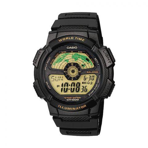 Casio Youth Series Black Illuminator Digital World Time Men's Watch, Resin Strap, AE-1100W-1BVDF