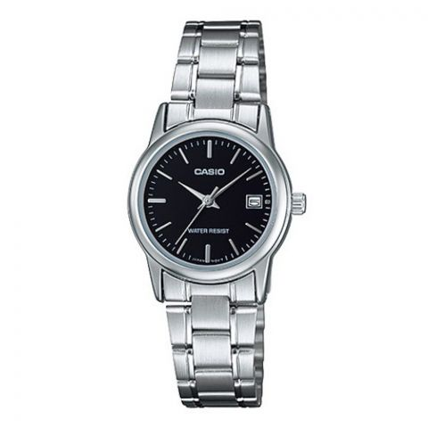 Casio Women's Dress Watch, Black Dial With Stainless Steel Strap, LTP-V002D-1AUDF