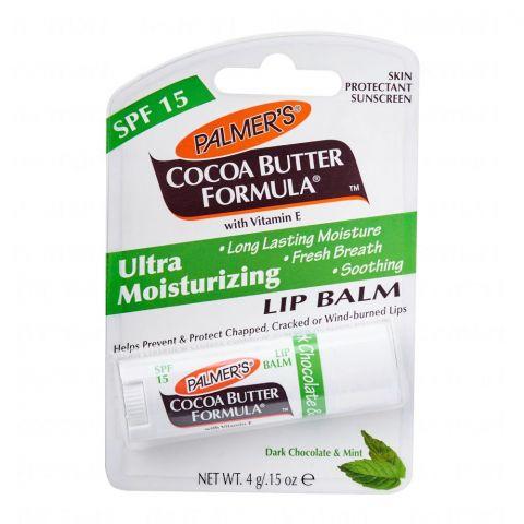 Palmer's Ultra Moisturizing Lip Balm, Cocoa Butter Formula, Chocolate & Mint, SPF 15, 4g