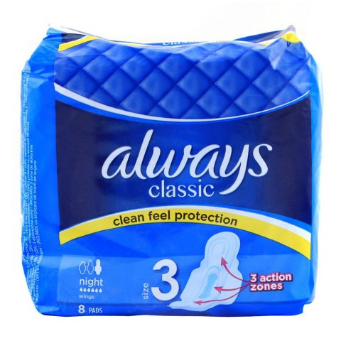 Always Classic No. 3 Clean Feel Protection Night Wings Pad, 8-Pack