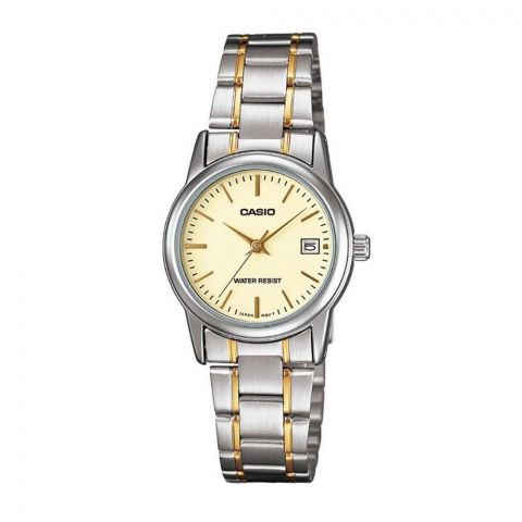 Casio Women's Two-Tone Beige Dial Dress Watch, Stainless Steel Band, LTP-V002SG-9AUDF