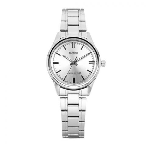 Casio Enticer Women's Silver Stainless Steel Analog Watch, LTP-V005D-7AUDF