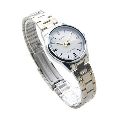 Casio Enticer Women's Two-Tone White Dial Watch, Stainless Steel Strap, LTP-V005SG-7AUDF