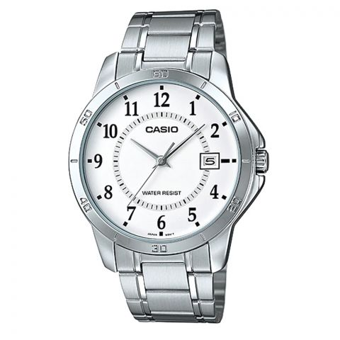 Casio Men's White Dial Stainless Steel Analog Watch, MTP-V004D-7BUDF