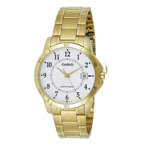 Casio Men's Gold Tone Stainless Steel White Dial Dress Watch, MTP-V004G-7BUDF