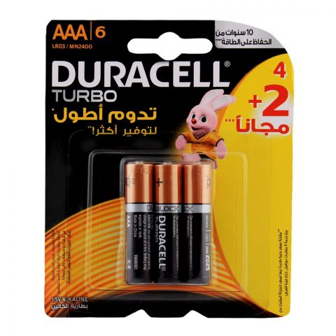 Duracell Turbo AAA Batteries 1.5V 4+2-Pack