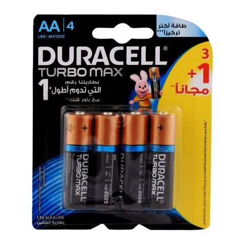 Duracell Turbo Max AA Batteries 1.5V 3+1-Pack