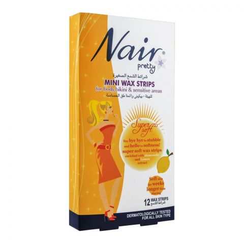 Nair Pretty Mini Wax Strips, For Body, Bikini & Sensitive Areas, With Chamomile & Lemon Extract, 12-Pack