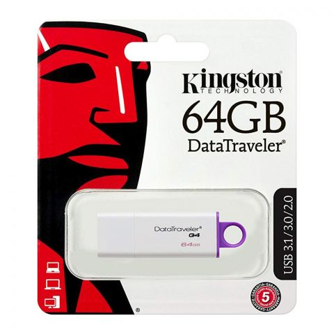 Kingston 64GB Data Traveler G4 USB Drive, USB 3.1/3.0/2.0