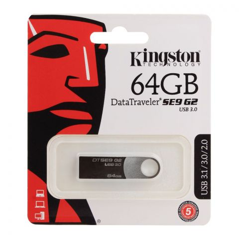 Kingston 64GB USB 3.1/3.0/2.0 Data Traveler SE9 G2 USB Drive, DT-SE9G2/164GB