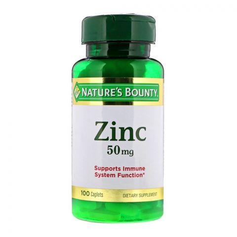 Nature's Bounty Zinc 50mg, 100 Caplets, Dietary Supplement