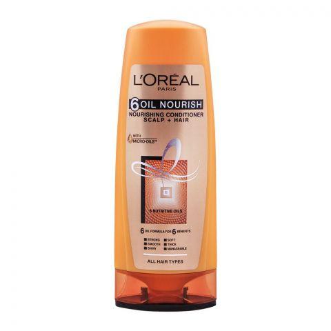 L'Oreal Paris 6 Oil Nourish Scalp + Hair Nourishing Conditioner, For All Hair Types, 175ml