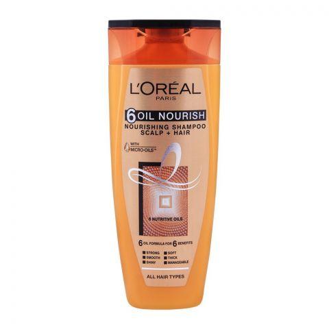 L'Oreal Paris 6 Oil Nourish Scalp + Hair Nourishing Shampoo, For All Hair Types, 175ml