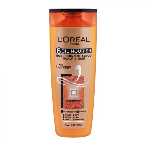 L'Oreal Paris 6 Oil Nourish Scalp + Hair Nourishing Shampoo, For All Hair Types, 360ml