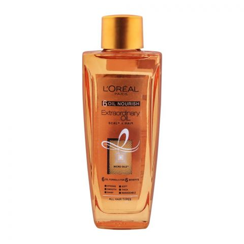 L'Oreal Paris 6 Oil Nourish Extraordinary Scalp + Hair Oil, For All Hair Types, 100ml