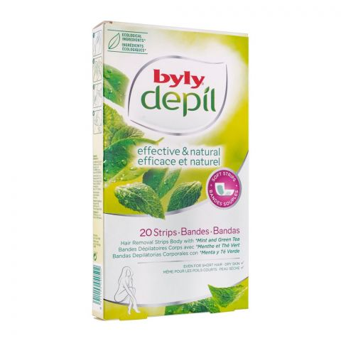 Byly Depil Effective & Natural Mint & Green Tea Hair Removal Body Wax Strips, 20-Pack