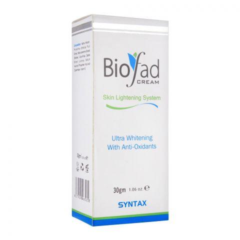 Biofad Skin Lightening System Cream, Ultra Whitening With Anti-Oxidants, 30g