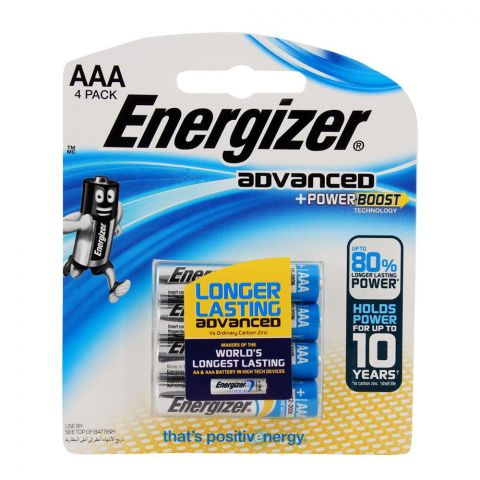 Energizer Advanced +Powerboast AAA Batteries 4-Pack RP-4