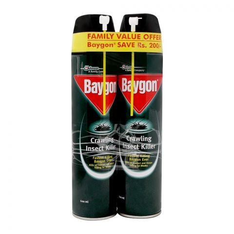 Baygon Crawling Insect Killer Spray Saver Pack, 2x600ml