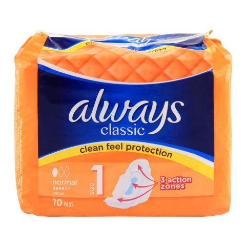 Always Classic No. 1 Clean Feel Protection Normal Wings Pads, 10-Pack