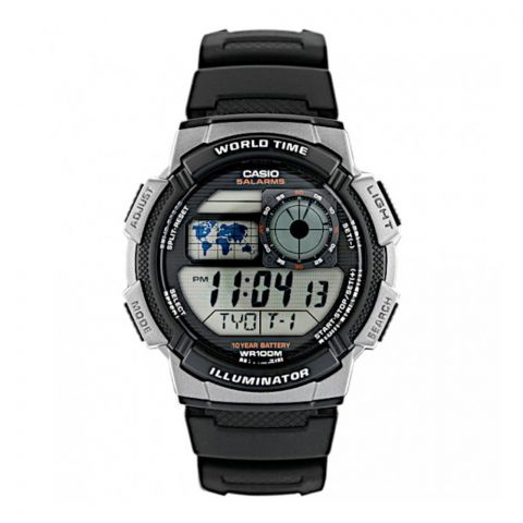 Casio Youth Series Illuminator Digital World Time, Resin Band, AE-1000W-1BVDF
