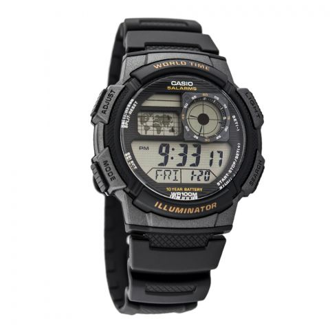 Casio Youth Illuminator Digital World Time Men's Watch, Black Resin Band, AE-1000W-1AVDF