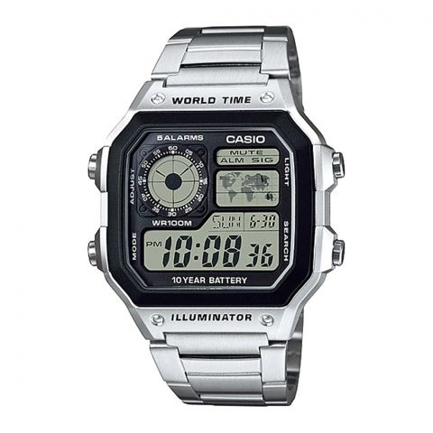 Casio Youth Illuminator Digital World Time Watch For Men, AE-1200WHD-1AVDF