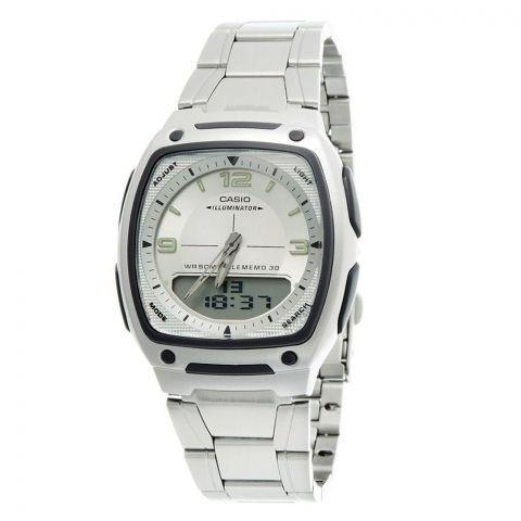 Casio Men's Analog-Digital White Dial Telememo Illuminator Watch, Stainless Steel Band, AW-81D-7AVDF
