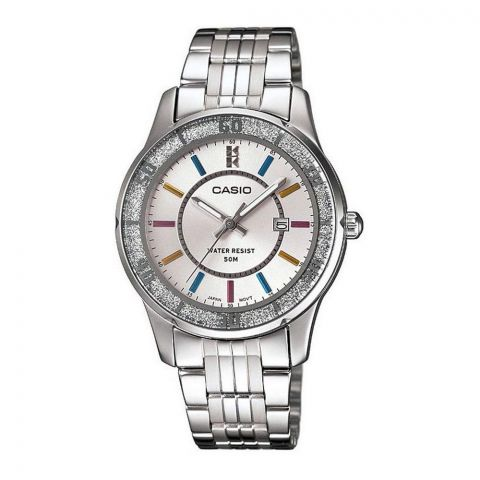Casio Enticer Women's Lame-Sprinkled Bezel Silver Dial Fashion Watch, Stainless Steel Band, LTP-1358D-7AVDF