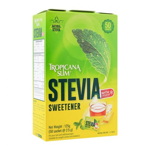 Tropicana Slim Stevia Sweetener Sachet, 50-Pack