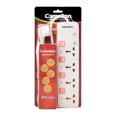 Camelion 4-Outlet + USB Power Socket Extension, 3m Cable, CMS-G241U