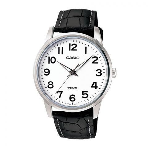 Casio Enticer Men's White Dial Black Leather Strap Watch, MTP-1303L-7BVDF