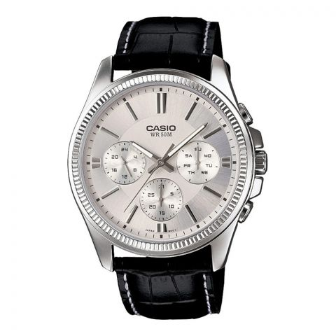 Casio Enticer Multi Dial Men's Watch, Mineral Crystal, Leather Band, MTP-1375L-7AVDF