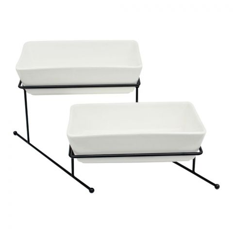 Brilliant 2-Tier Deep Rectangular Serving Holder, With Stand, BR0062