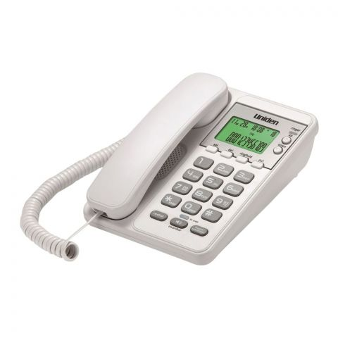 Uniden Backlit LCD Caller ID Speakerphone, White, AS6404