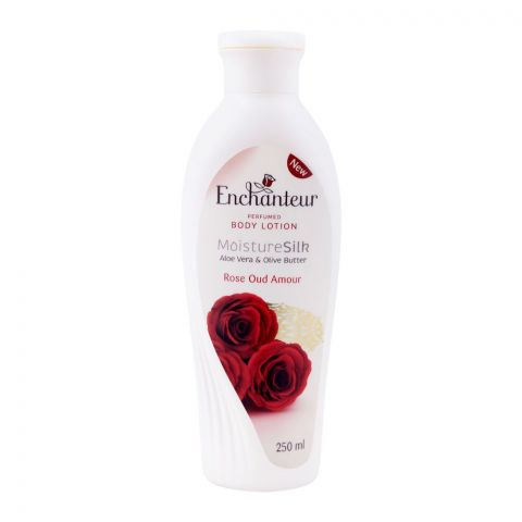 Enchanteur Rose Oud Amour Moisture Silk Perfumed Body Lotion, Aloe Vera & Olive Butter, 250ml