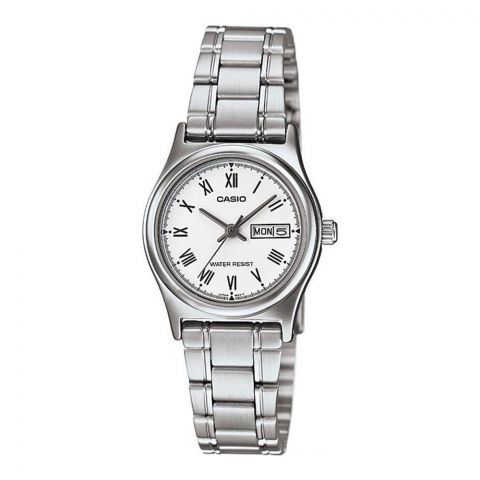 Casio Women's Analog White Dial Stainless Steel Dress Watch, LTP-V006D-7BUDF