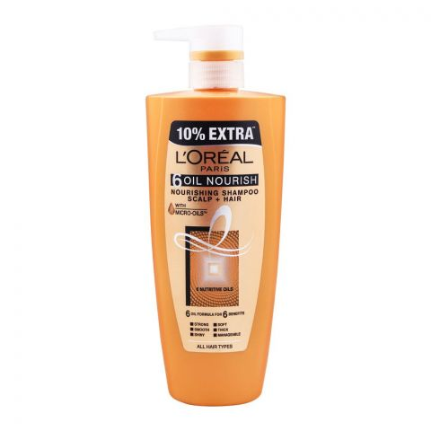 L'Oreal Paris 6 Oil Nourish Scalp + Hair Nourishing Shampoo, For All Hair Types, 640ml 10% Extra