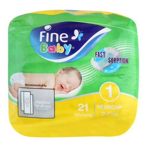 Fine Baby Diapers, No. 1, New Born 2-5 KG, 21-Pack