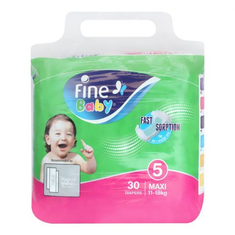 Fine Baby Diapers, No. 5, Maxi 11-18 KG, 30-Pack
