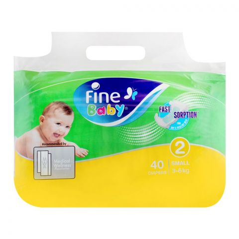 Fine Baby Diapers, No. 2, Small 3-6 KG, 40-Pack